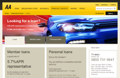 Official AA Loans UK Website