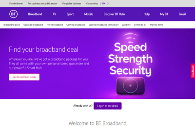 Official BT Broadband UK Website