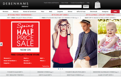Official Debenhams.ie UK Website