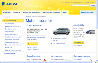 Official Aviva Motor Insurance UK Website