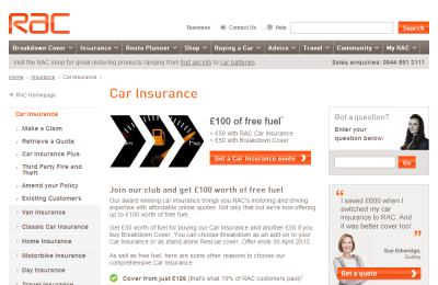 Official RAC Car Insurance UK Website